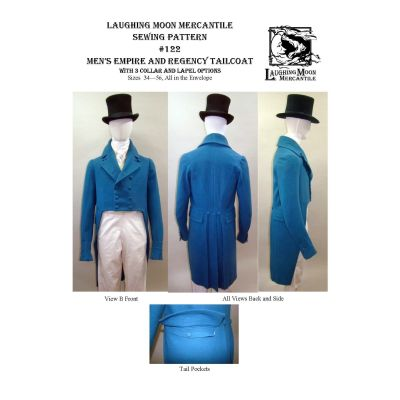 1806-1820 Men's Regency and Empire Tailcoat with Collar Notch and Lapel Options Pattern by Laughing Moon Mercantile
