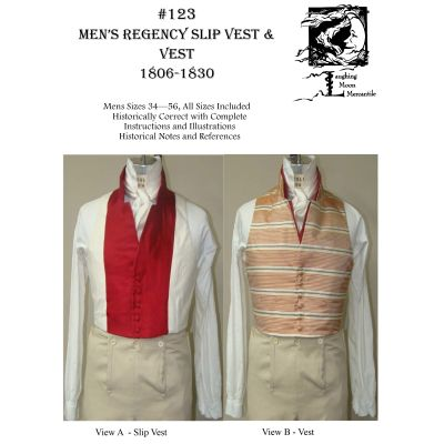1806-1830 Men's Regency Slip Vest & Vest Pattern by Laughing Moon Mercantile
