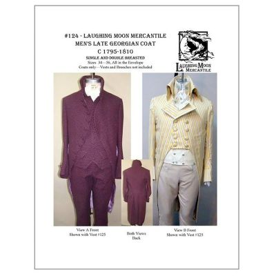 1795-1810 Men's Late Georgian Coat Pattern by Laughing Moon Mercantile
