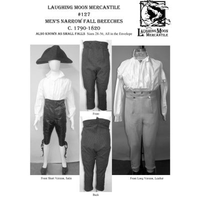 1790-1820 Men's narrow Fall Breeches Also known as Small Falls Pattern by  Laughing Moon Mercantile
