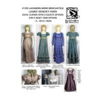 1815-1825 Ladies' Regency Gown Pattern - Back Closing with 5 Sleeve Options Pattern by Laughing Moon Mercantile
