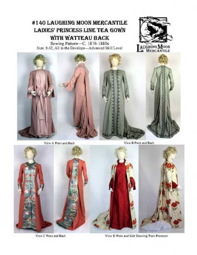 . Ladies' Princess Line Tea Gown 1876-1880s Pattern by Laughing Moon Mercantile