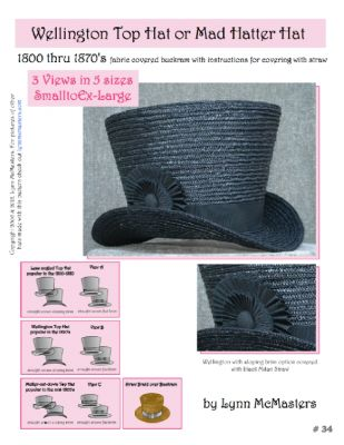 "1800's Wellington or ""Mad Hatter"" Top Hat Pattern by Lynn McMasters"
