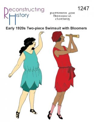 Early 1920s Ladies' Swimsuit with Bloomers in Larger Sizes  Pattern by Reconstructing History