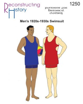 Men's 1920s-1930s Knit Swimsuit in LARGER SIZES Pattern by Reconstructing History