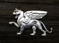 Winged Lion of Venice Brooch in Pewter