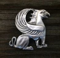 Griffin Brooch Pin in Pewter