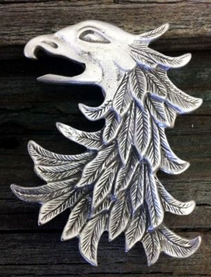 Eagle Head / Gryphon Brooch in Pewter