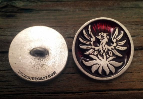 Phoenix Pewter Shank Button 1 Inch (25 mm) - Special Order in Colors