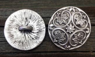 Decorative Round Renaissance Pewter Shank Button 1 1/8 Inch (28 mm)