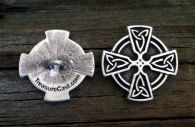 Ringed Celtic Cross Pewter Shank Button 1 Inch (25 mm)