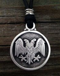 Double Headed Eagle Pendant in Pewter