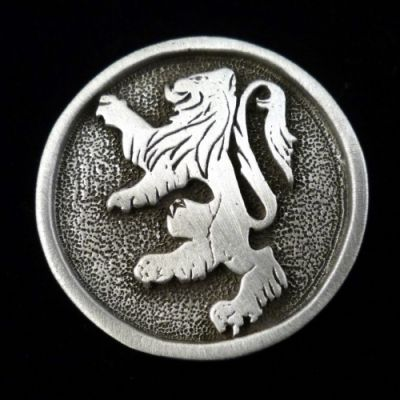Rampant Lion Pin in Pewter (Choice of Colors)