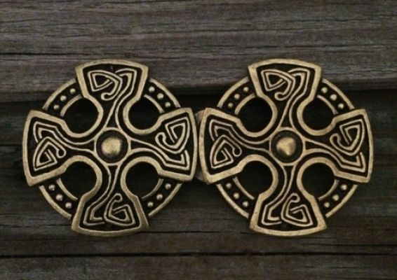 St. Brynach's Cross Cloak Clasp - Pewter or Pewter with Brass Overlay