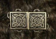 Celtic Dog Cloak Clasp - Pewter or Brass Overlay