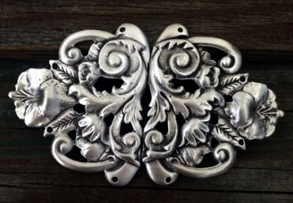 Large Floral Renaissance Cloak Clasp in Pewter or Pewter with Brass Overlay