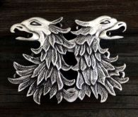Double Eagle Head / Gryphon Cloak Clasp - Pewter or Brass Overlay