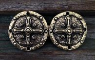 Shield Cross Cloak Clasp  - Pewter or Brass Overlay