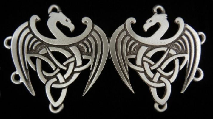 The Celtic Dragon Cloak Clasp - Pewter or Brass Overlay