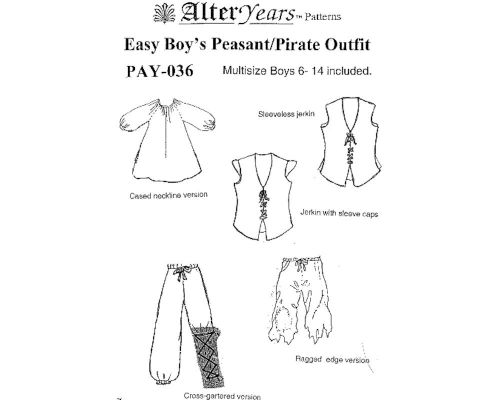 Patterns Of Time Easy Boys Peasantpirate Pants Sewing Pattern By