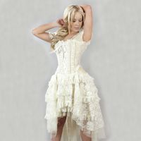 A Steampunk/Victorian Burlesque Ophelie Cream Taffeta and Lace Corset Dress