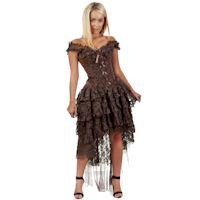 Steampunk/Victorian Burlesque Ophelie Brown Brocade and Lace Corset Dress