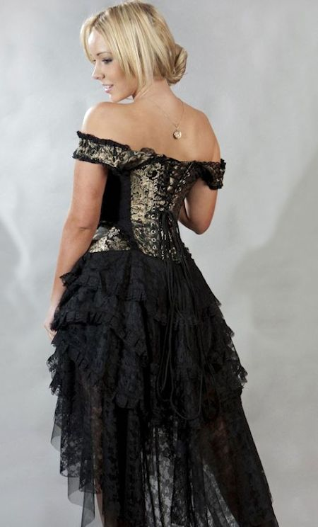 Steampunk/Victorian Burlesque Ophelie Black and Gold Brocade and Taffeta and Lace Corset Dress