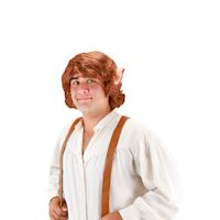 Officially Licensed Bilbo Baggins Wig With Ears, Brown, One Size