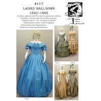1840-1863 Ball Gown Pattern by Laughing Moon Mercantile