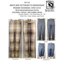 1850-1910s Men's Mid-Victorian to Edwardian Trousers Pattern by Laughing Moon Mercantile.