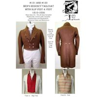 1806-1830s Men's Regency Tailcoat 5 Collar & Lapel Options and Regency Vest Pattern Combo by Laughing Moon Mercantile
