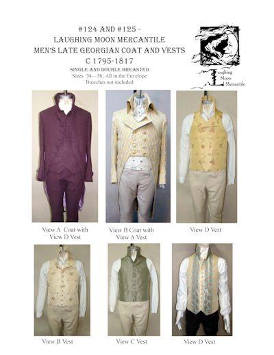 Patterns Of Time 4040 Men's Late Georgian Tailcoat Men's Late Stunning Vest Patterns