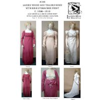 1800-1810 Ladies' Round or Trained Gown with a High Stomacher Front Pattern by Laughing Moon Mercantile