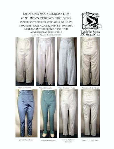 LM131 - 1790-1830 Men's Small Fall Regency Trousers Collection Pattern by Laughing Moon Mercantile