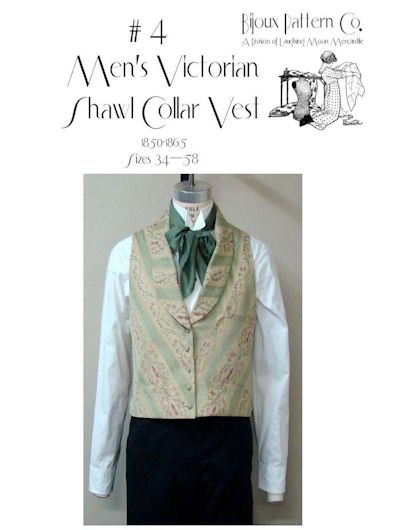 1850 - 1865 Men's Victorian Shawl Collar Vest Pattern by Laughing Moon Mercantile