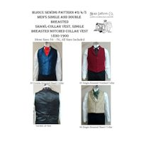 1830-1900 Men's Victorian Single and Double-Breasted 3-4-5 Vest Combo Pattern by Laughing Moon Mercantile