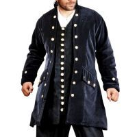 Captain De Lisle Pirate Coat - Black Cotton Velvet