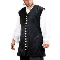 Captain De Lisle Pirate Vest - Black Cotton Velvet