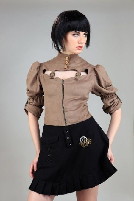 Moire Steampunk Tie-Back Blouse