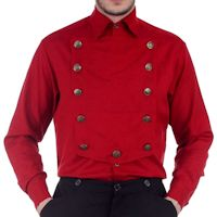 Red Steampunk Airship, Victorian or Western Shirt