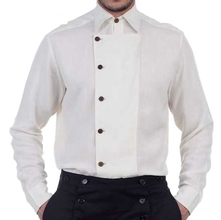 Steampunk or Western Ulysses Off-White Side-Button Shirt