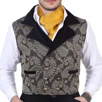 Grey and Black Double-Breasted Steampunk Victorian Brocade Vest