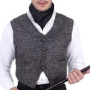 Steampunk Victorian Western Grey Single-Breasted Victorian Cut Commander Vest