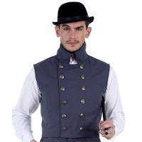 Steampunk Victorian Western Hershel Blue-Grey Double-Breasted High Collar Gentlemen's Vest