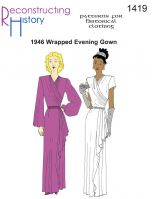 1946 Wrapped Evening Gown Pattern By Reconstructing History