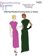 1946 Hip Pleated Evening Gown or Dress Pattern By Reconstructing History