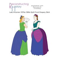 1870s-1890s Late Victorian Split-Front Drapery Overskirt Pattern by Reconstructing History