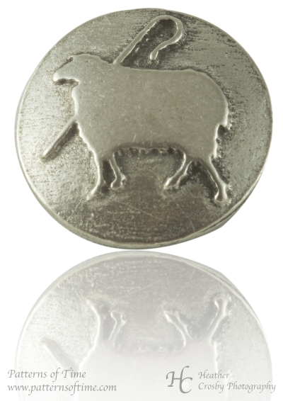 "Sheep and Crook Pewter 3/4"" Button - Card of 4"