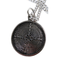 "Handcrafted Pewter Small Labyrinth - Spiral Design Necklace - 3/4 "" Solid Pewter"