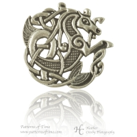 Handcrafted Pewter - Celtic Seahorse Pewter Brooch